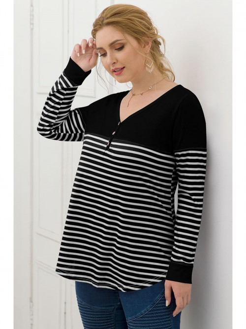 Lovable Black Stripe Patchwork Shirt Large Size Female Elegance