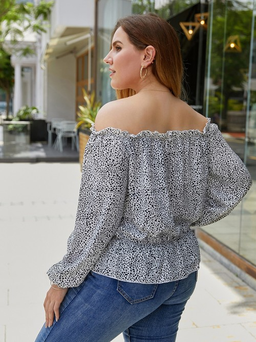 Colorful White Off Shoulder Big Size Shirt Polka Dot For Traveling