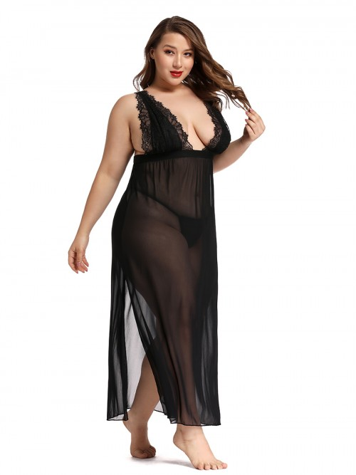 Adoring Black Eyeleash Lace Trim Large Size Babydoll