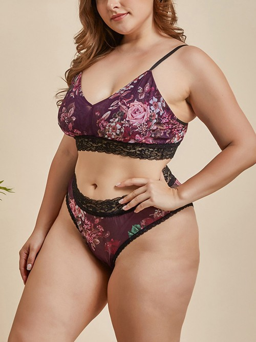 Tailored Plus Size Bralette Sling Lace Trim Night Time