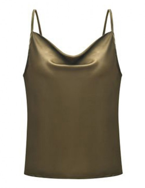 Functional Army Green Slender Strap Backless Top Chiffon Big Size