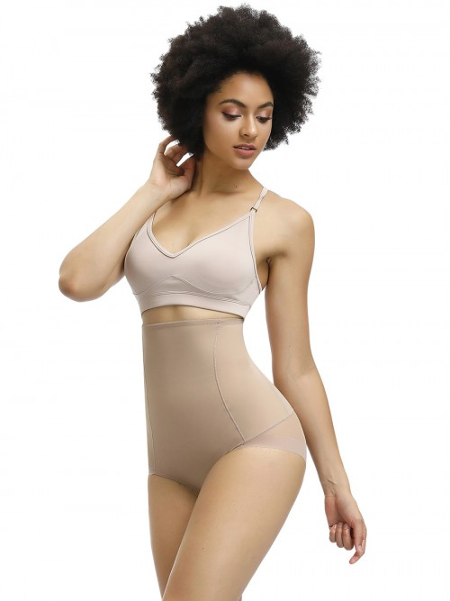 Bandage Apricot Tight Butt Lifter Panty High Waist Midsection Compression
