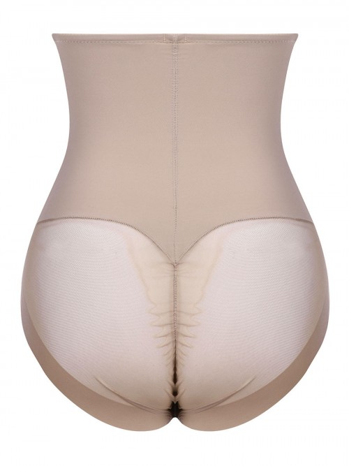 Breathable Apricot Butt Enhancer 3 Rows Hooks Sheer Mesh Tight Fitting