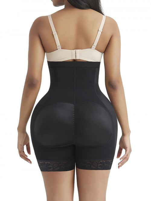Exquisite Black High Waist Hooks Butt Lifter With Pad Elastic