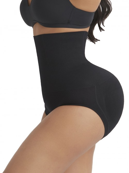 Medium Control Black High Waist Butt Lifter Panties With Pad