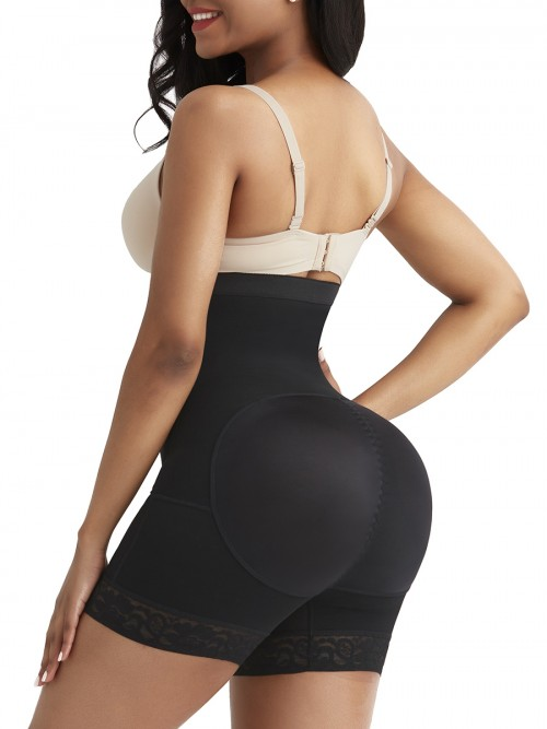 Sheer Black Underbust Butt Lifter Removable Pads Firm Control