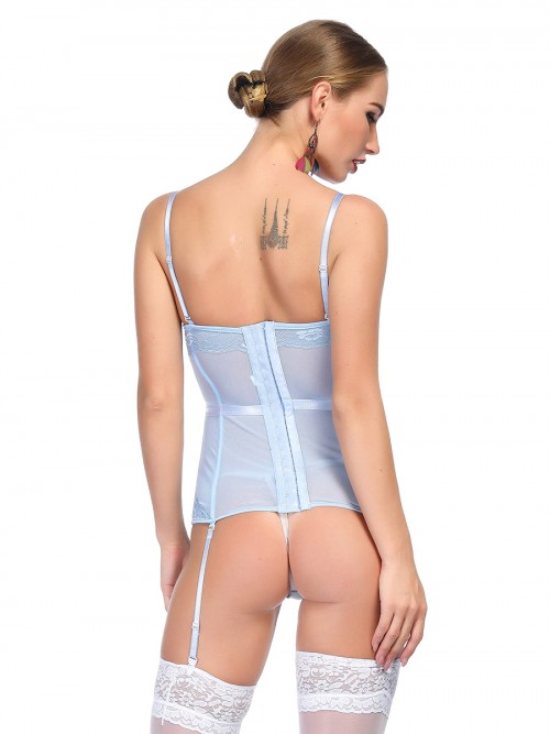 Breezy Light Blue Eyelash Lace Bustier With Thong Sling