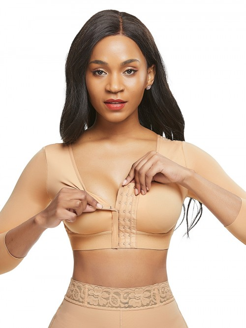 Fashionable Skin Color Queen Size 3/4 Sleeve Shapewear Bra Comfortable