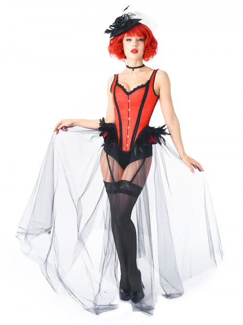 Striking Red 2-Piece Gothic Corset With Pantie Gauze Hem For Party