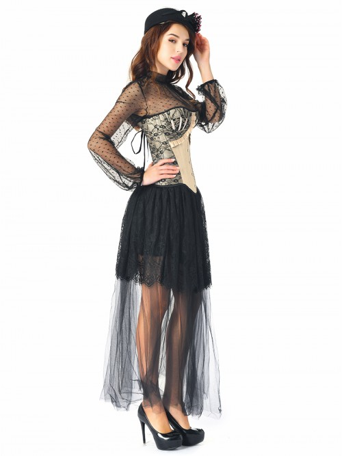 Gorgeous Black 3 Pieces Ruffle Corset Skirt Set Lace Trim Slim
