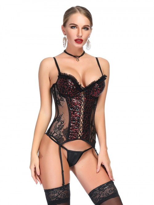 Women's Rhinestone Lace Splice Bustier Thong Love Forever