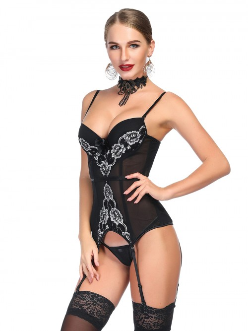 Intimate Black Mesh Corset G-String Peony Pattern Nightwear