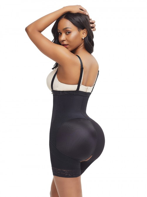 Black Detachable Straps Full Body Shaper Big Size Fat Burning