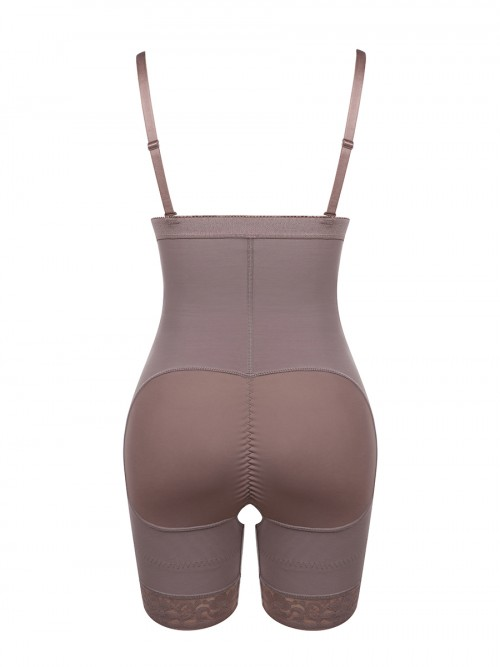 Coffee Color Seamless Full Body Shaper Underbust Zipper Weight Loss