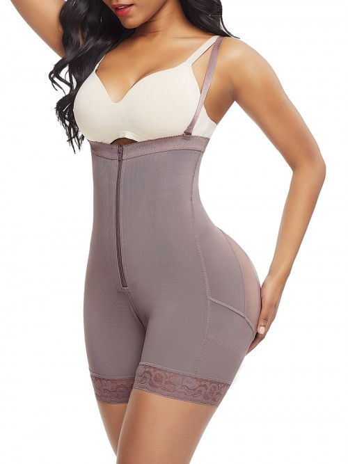 Seamless Coffee Color Full Body Shaper Underbust Zipper Straps Fashion