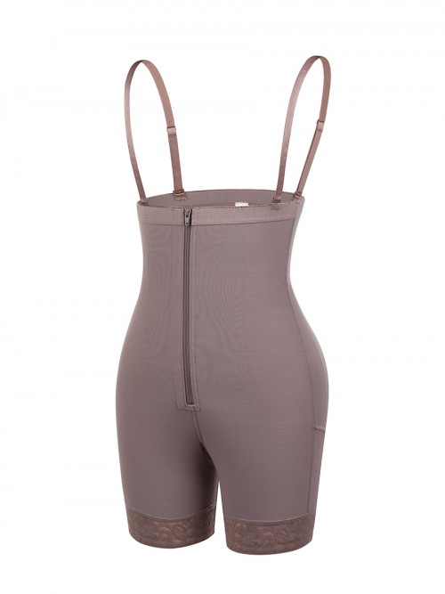 Coffee Color Full Body Shaper Underbust With Zipping Weight Loss