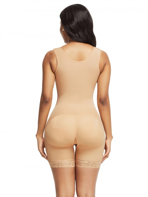 Skin Color Wide Straps Crotchless Full Body Shapewear With Hooks