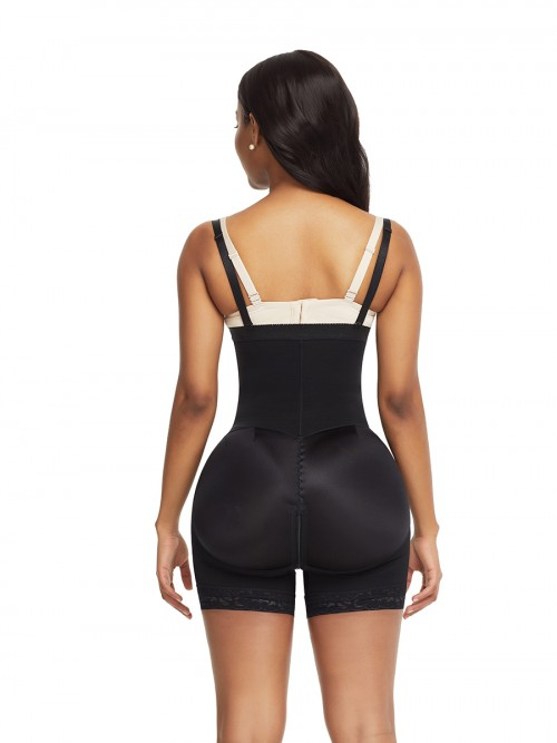 Black Detachable Straps Side Zip Full Body Shaper Ultra Light