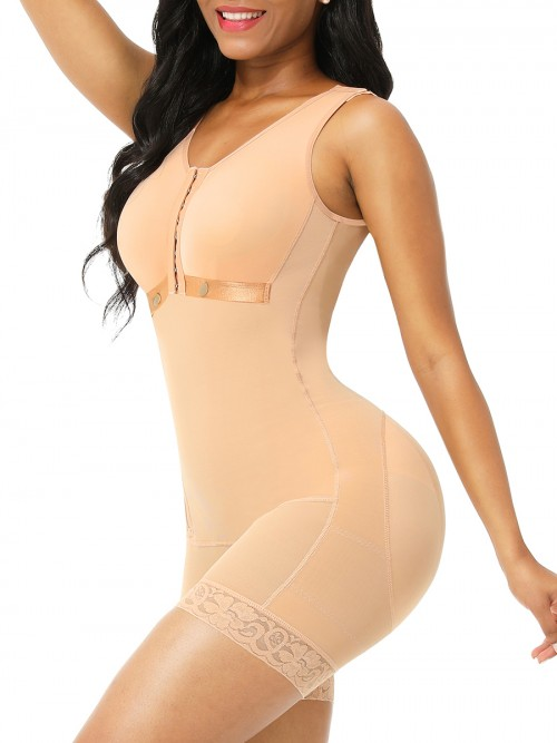Deep Skin Color 3 Rows Hooks Adjustable Strap Body Shaper Flatten Tummy