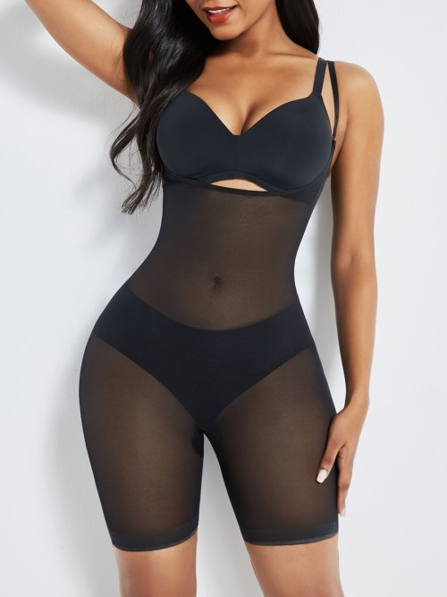 Black Removable Straps Mesh Full Body Shaper Leisure Fashion