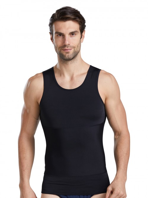 Slender Black Men's Tank Double Layers Round Collar Tight Fitting