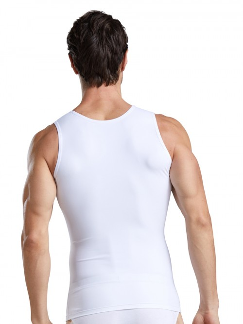 Appealing White Solid Color Men's Tank Wide Straps Posture Correct