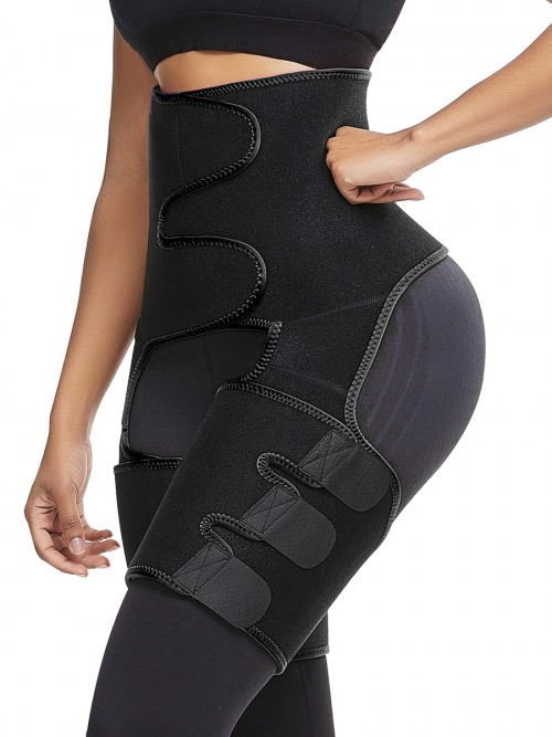 Stunning Black Neoprene Thigh Trainer Butt Lifting Midsection Control