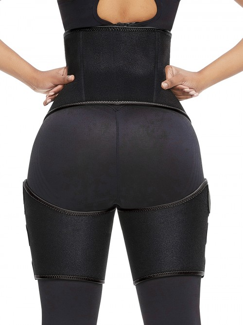 Black Neoprene Thigh Shaper 2-In-1 Butt Lifting Waist Trainer