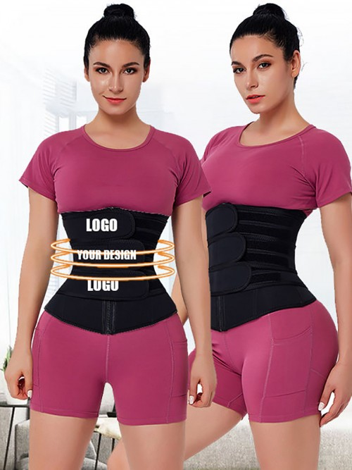 Slimming Black Adjustable Three Belt Neoprene Waist Trainer Big Size