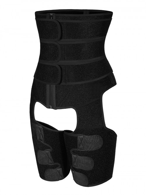 Tummy And Thigh Shaper Neoprene Black 3 Belts Firm Foundations