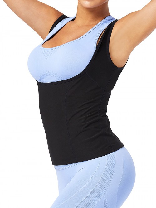 Plus Size Blue Wide Strap Sweat Vest Weight Loss