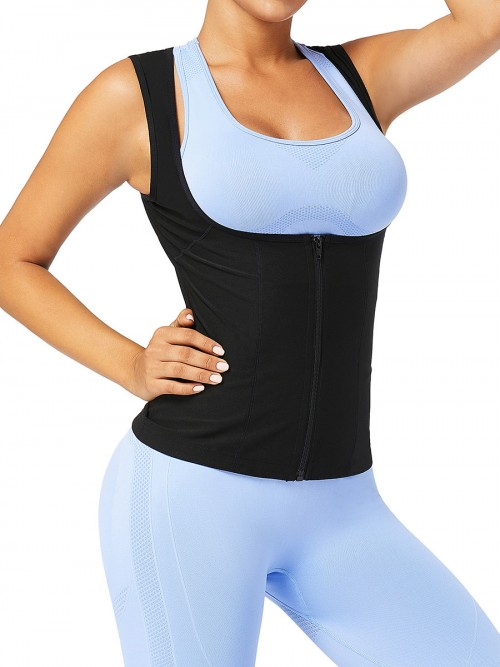 Sweat Vest Blue With Zipper Large Size Highest Compression