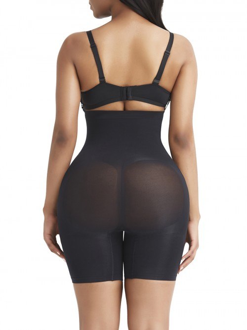 Black Tummy Control Seamless Shapewear Shorts Smooth Silhouette