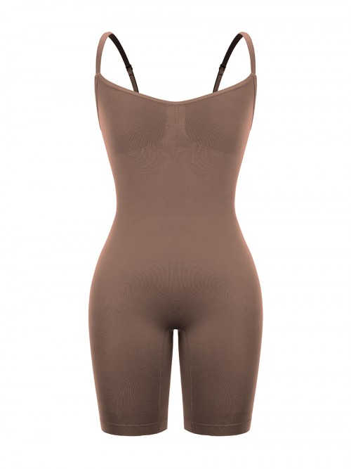Coffee Color Body Shaper Overlap Gusset Solid Color Fat Burning