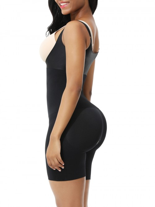 Black Open Gusset Seamless Shapewear Bodysuit High Impact