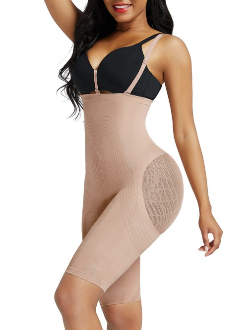 Skin Color Knee Length Shapewear Shorts Open Crotch Flatten Tummy