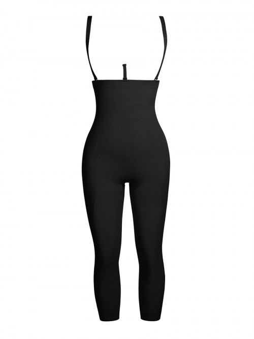 Black Plus Size Full Body Shaper With Open Crotch Slimming Waist