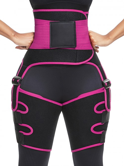 Rose Red Neoprene Adjustable Sticker 2-In-1 Waist Thigh Trimmer
