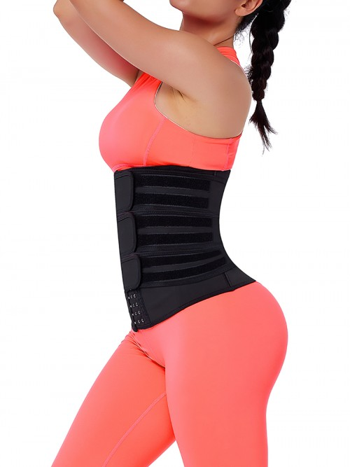 High Compression Black Hooks Latex Three-Belt Waist Trainer