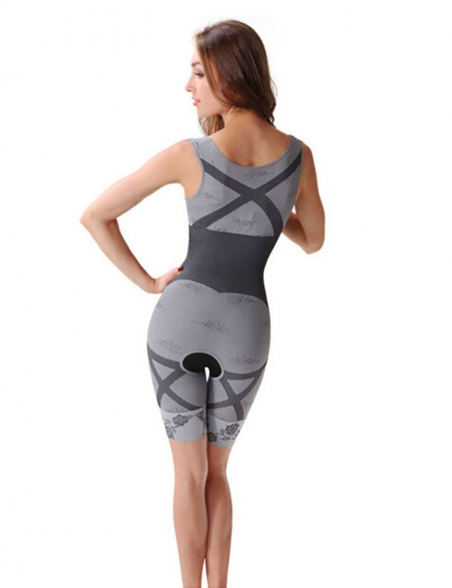 Breathable Stylish Grey Seamless Underbust Full Body Shaper Trendy Contrast Color