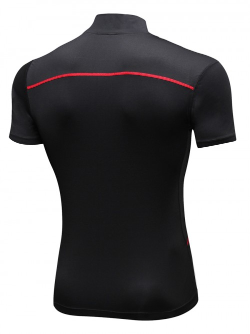 Elegance Red Short Sleeve Mesh Running Top Form Fitting
