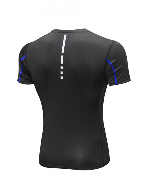 Stretch Blue Reflective Stripe Men's Running Top Fashion Shop Online