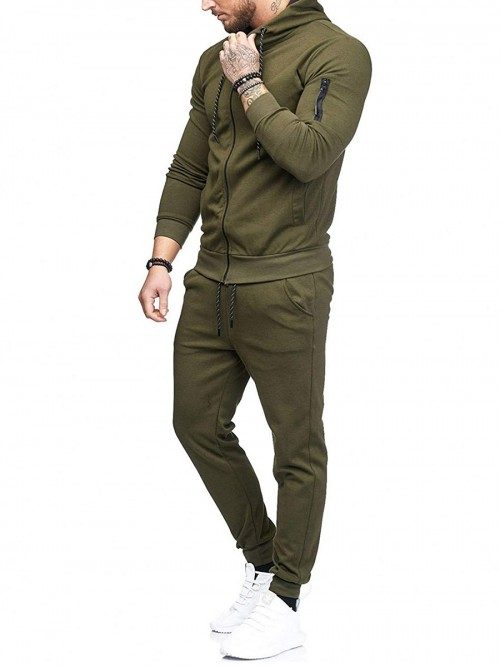 Body Hugging Dark Green Sports Suit Zipper Ankle Length Leisure Time
