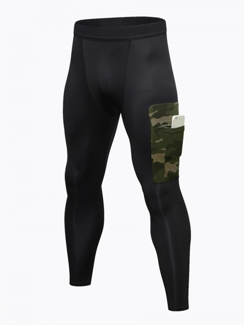 Army Green Fast Dry Men's Leggings Side Pocket Superior Quality