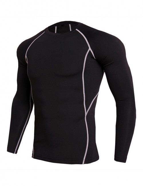 Contrast Color Round Collar Running Shirt For Workout