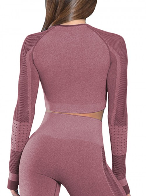 Stretchable Wine Red Mesh Patchwork Yoga Top Crew Neck Elasticated