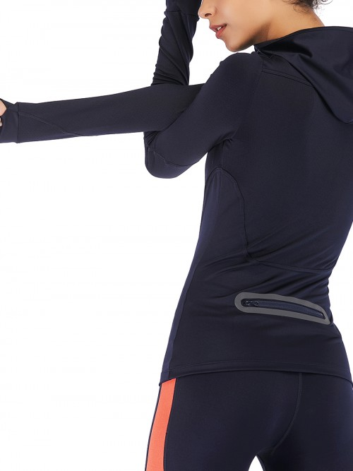 Cool Dark Blue Running Top Zipper Long Sleeve Feminine Charm