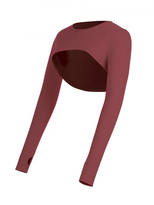 Jujube Red Long Sleeve Running Top Crew Neck Versatile Item