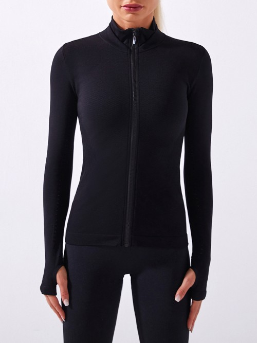 Black Long Sleeves Seamless Zipper Sports Jacket For Running Girl