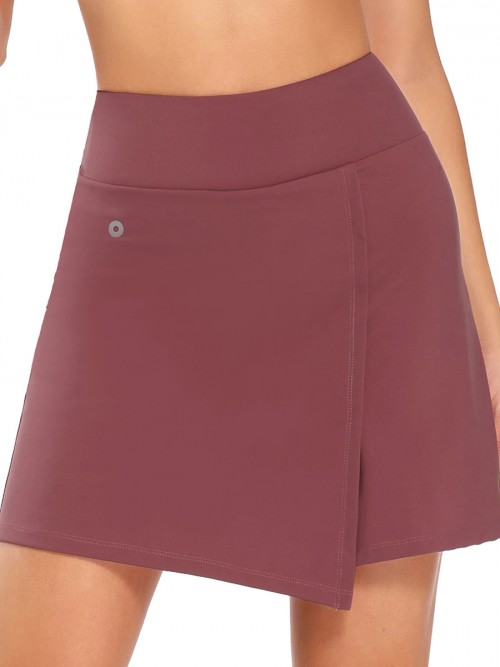 Paradise Wine Red Headphone Hole Tennis Skirt High Rise
